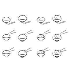 rice bowl symbol with chopsticks in line art vector image
