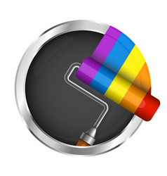 Roller with paint symbol vector