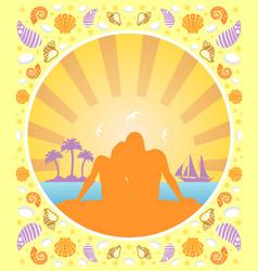 Romantic love summer background card vector