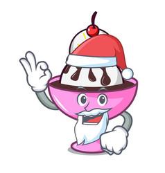 Santa ice cream sundae mascot cartoon vector