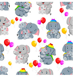 seamless pattern with happy elephant vector image