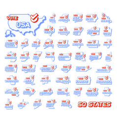 set 50 us states presidential vote in usa 2020 vector image