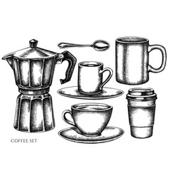 Set hand drawn black and white coffee vector