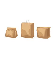 set paper bags fast food packaging vector image