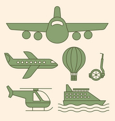 ship airplane vintage icons vector image