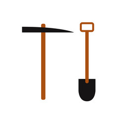 shovel icon with pickaxe vector image