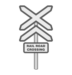 Sign rail road crossing icon monochrome style vector
