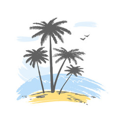 Silhouette of palms in sunset vector