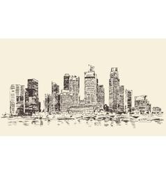 Singapore Big City Architecture Vintage Engraved vector