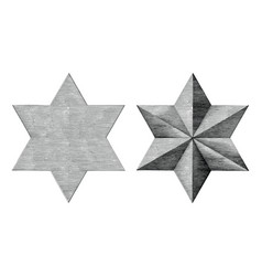six pointed star hand draw vintage style black vector image