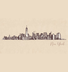 sketch manhattan new york on kraft paper vector image