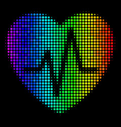 Spectral colored pixel cardiology icon vector