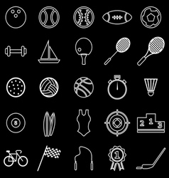 Sport line icons on black background vector
