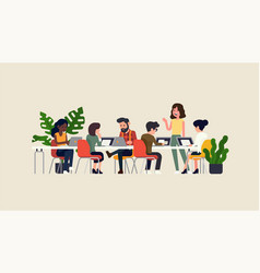 Startup company team meeting focus group concept vector