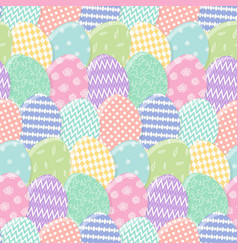 Tender pattern with mess colorful easter eggs vector