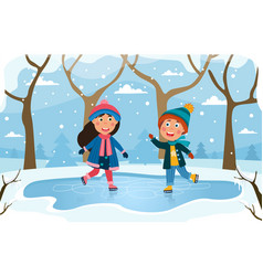 two young children skating on a rink vector image