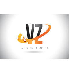 vz v z letter logo with fire flames design and vector image