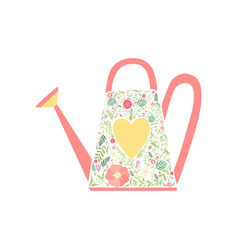 watering can decorated with floral seamless vector image