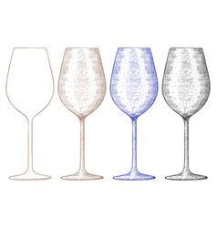wine glass hand drawn sketch vector image