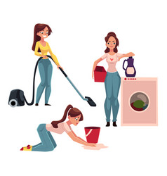Woman housewife doing chores - ironing washing vector