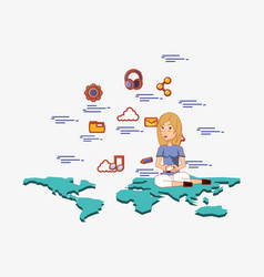 woman with smartphone sitting on world map social vector image