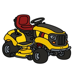 Yellow garden lawn mower vector image