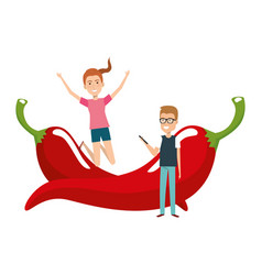 Young couple with chilli pepper vector