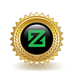Zcoin cryptocurrency coin gold badge vector