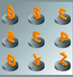 currency color isometric icons vector image vector image
