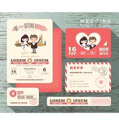 Cute groom and bride couple wedding invitation set vector image vector image