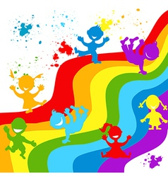 Hand drown children silhouettes in rainbow colors vector image vector image