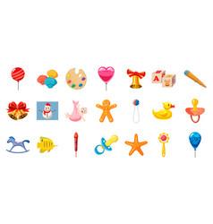 kid toys icon set cartoon style vector image
