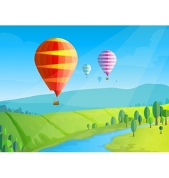 Landscape with balloons vector image vector image