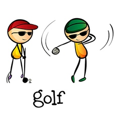 Stickmen playing golf vector image