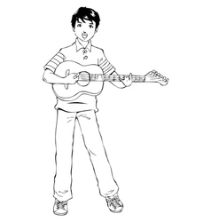 Teen Playing Guitar vector image vector image
