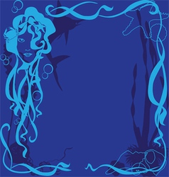 blue background marine life vector image vector image