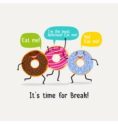 Eat sweet tasty donut poster Cute colorful glazing vector image vector image