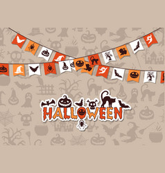 halloween background with garlands vector image vector image
