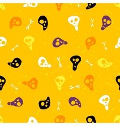 Halloween seamless pattern with skulls and bones vector image