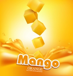 Juicy mango slices falling into the fresh juice vector