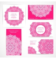Set of banners with floral Indian ornaments can be vector image