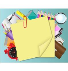yellow paper and school objects vector image vector image