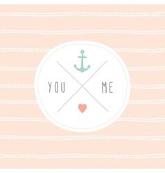 Anchor wedding invitation template vector image