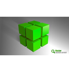 cube green vector image vector image