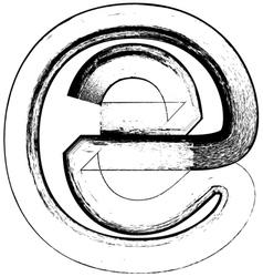 Grunge Font letter e vector image vector image
