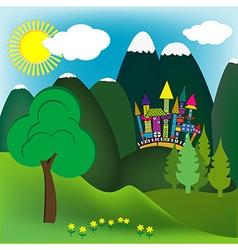 Mountain doodle landscape vector image vector image