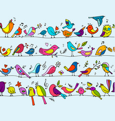 birds family seamless pattern for your design vector image vector image