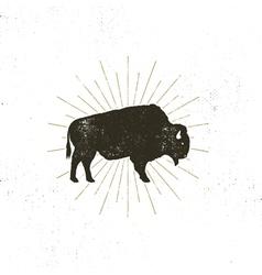 bison icon silhouette Retro letterpress effect vector image vector image
