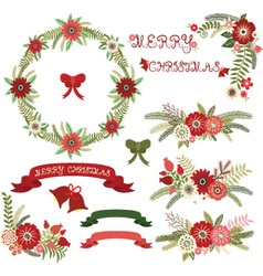 Christmas Floral Collections vector image vector image