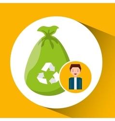 Cute boy recycle ecology icon plastic bag trash vector